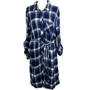 BLL NYC Blue Plaid Dress Size XL